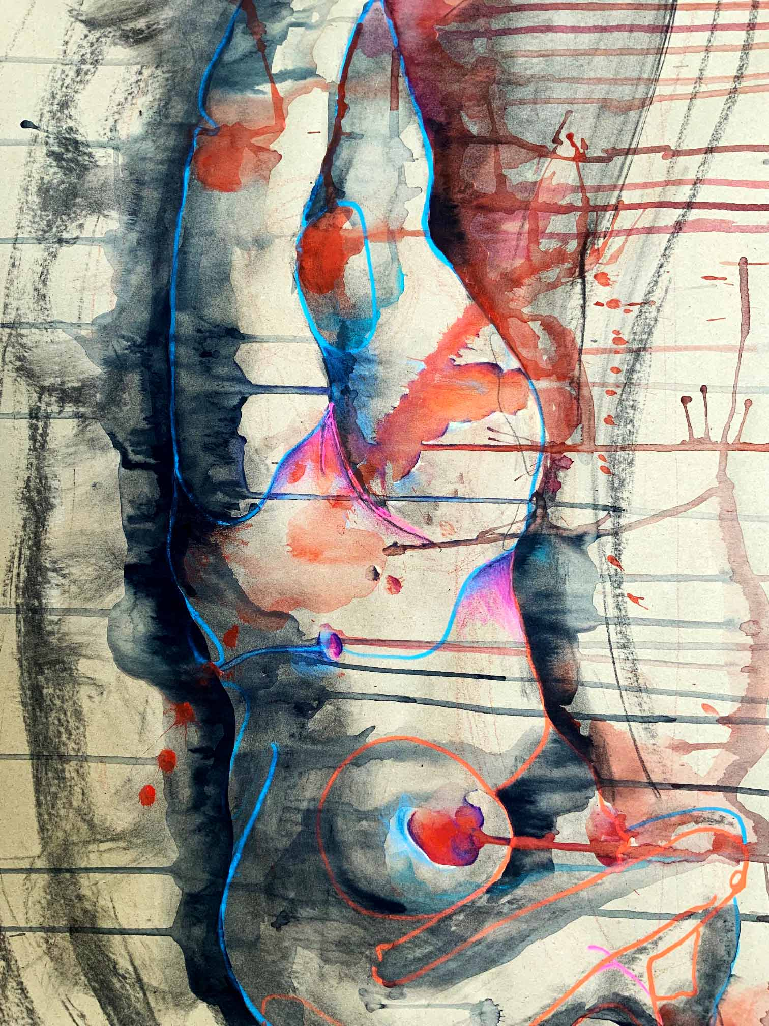 Erotische Zeichnung einer Frau.