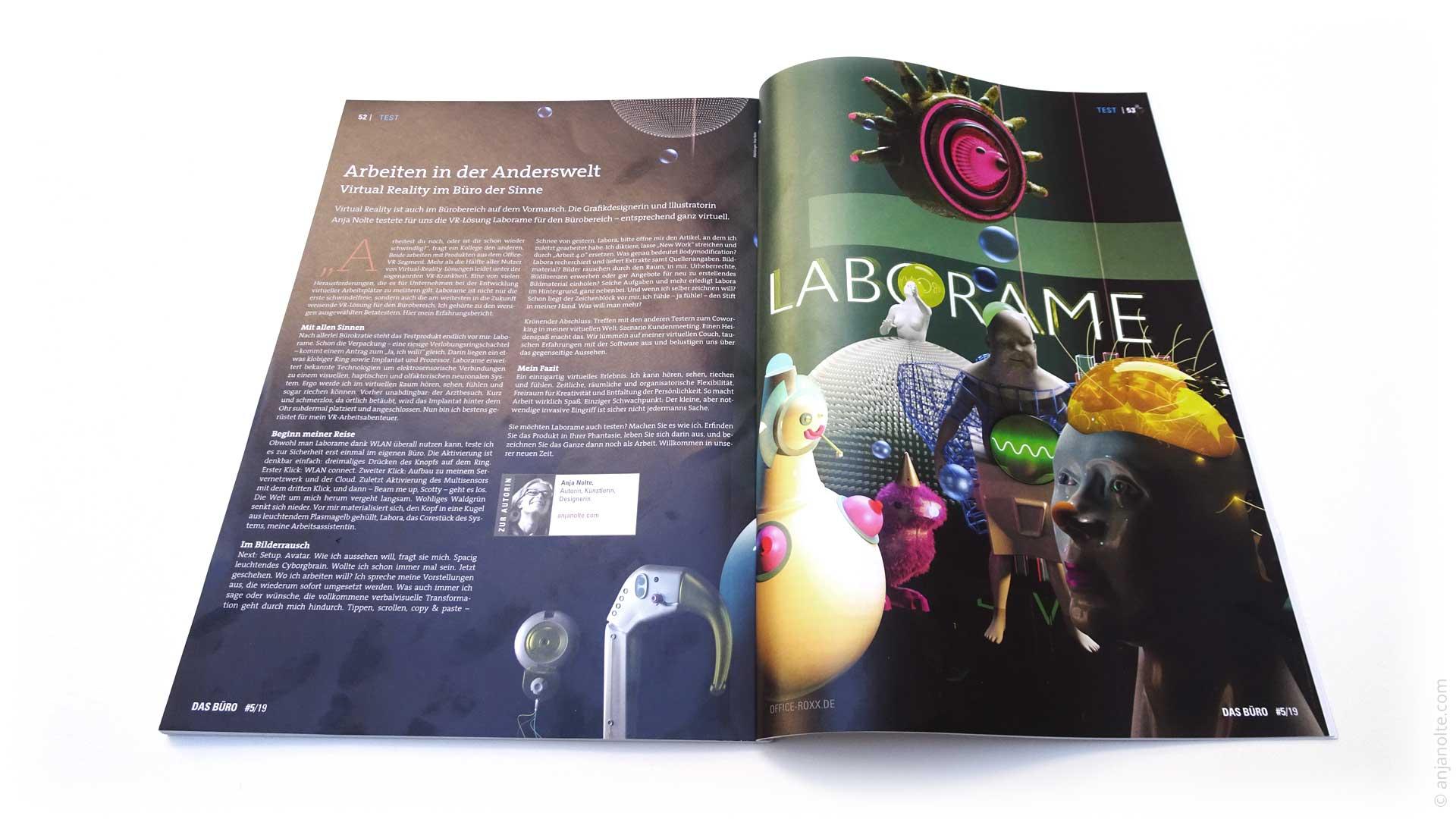 Editorial Illustration 3D und Artikel von Anja Nolte zum Thema Virtual Reality Lösungen für das Büro. Publikation im Magazin